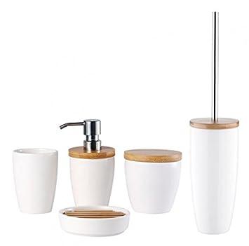 5-tlg. Bad-Set - KOBE - Keramik/Bambus - weiß - Seifenablage -  Toilettenbürste - Zahnputzbecher - Seifenspender - Aufbewahrungsdose - WC  Bürste - ...