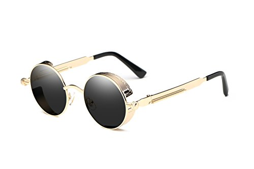 Dollger Men Retro Round Sunglasses Vintage Steampunk Gold Metal Frame Shades