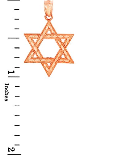 """10 ct 471/1000 Or Rose Juive etoile de David- Pendentif (petit -1"""" inch)Pendentif"""