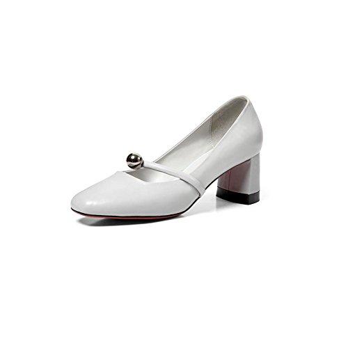 DALL Zapatos de tacón Ly-597 Primavera Y Verano Zapatos De Mujer Áspero Talón Del Zapato Cabeza Redonda Tacones Sandalias 5cm De Alto (Color : Gris, Tamaño : EU 38/UK5.5/CN38) Gris