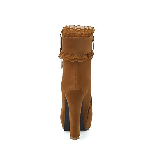 AllhqFashion Damen Hoher Absatz Naht Rund Zehe Nubukleder Reißverschluss Stiefel Kamel Farbe