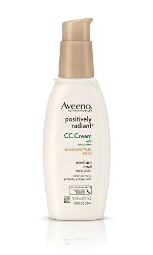 Aveeno Positively Radiant CC Cream SPF 30, Medium, 2.5 Ounce Tube