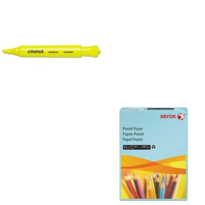 KITUNV08861XER3R11050 - Value Kit - Xerox Multipurpose Pastel Colored Paper (XER3R11050) and Universal Desk Highlighter (UNV08861)