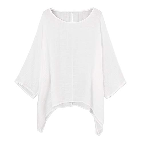 (Red Ta Women Cotton Linen Plus Size Pullover Shirt, Ladies Casual Crew Neck Loose Top Blouse Tunic White )