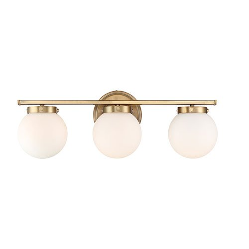 251 First Nicollet Natural Brass Three-Light Bath Vanity with White Opal Glass ()