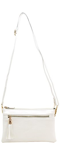 Amy&Joey vegan faux leather tassel detail multi compartments cross body bags with wristlet strap (WHITE)