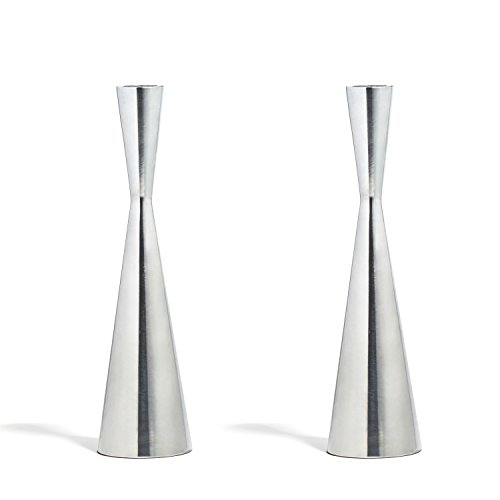 LampLust 2 Silver Finished Taper Candle Holders, 9 Inches, Metal, Hourglass Shape, Fits All Standard Candlesticks