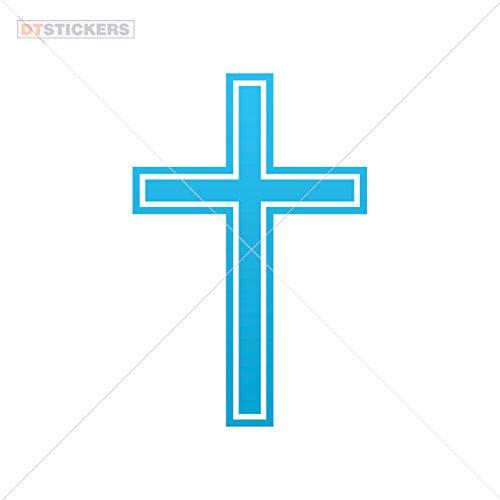 Vinyl Sticker Decal Cross Symbol Atv Car Garage bike (3 X 1,99 In. ) Blue