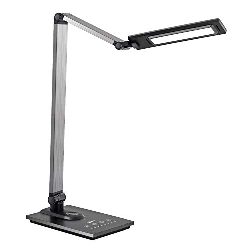 IMIGY Aluminum Alloy LED Desk Lamp with USB Charging Port, 9W Dimmable Office Lamp, Slide Touch Control with Stepless Adjustable Brightness and 3 Color Modes, Black