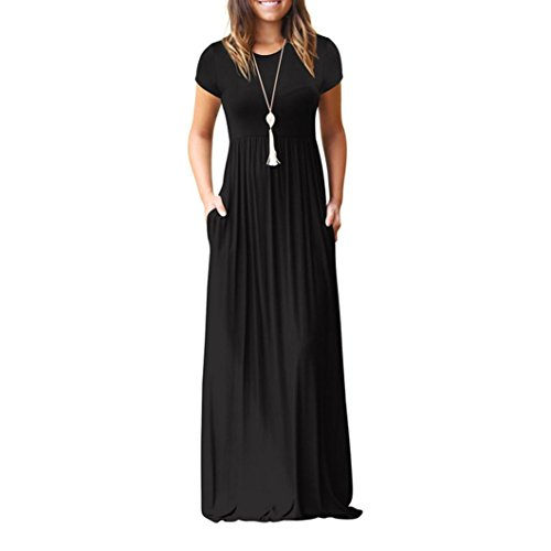 Joint 2018 Summer Women Fashion Short Sleeve Loose Plain Long Maxi Casual Evening Party Dress With Pockets (Large, Black)