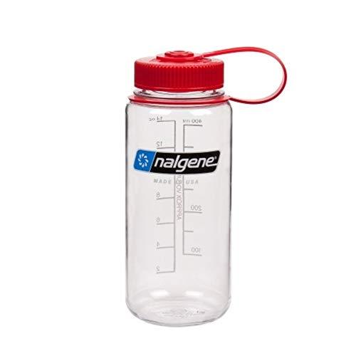 a8dbe59fdf Nalgene Tritan Wide Mouth BPA-Free Water Bottle, 16 Oz, Clear w/Red Cap