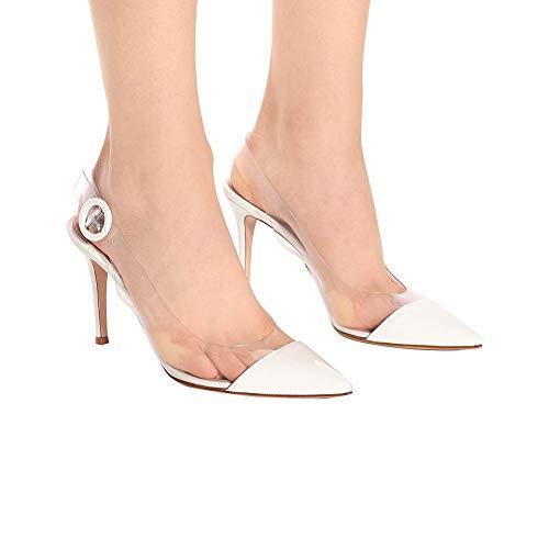 Pvc Du Boucle Femmes La Stiletto Mullerhauteur Journée Mode Talon10cmWhite À Slingback Cheville Chaussures Réglable Bride Pointé Sandales Longue OZkuXPi