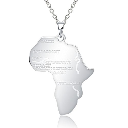 JAJAFOOK Women Men Africa Charm Hip Hop Jewelry African Map Pendant Necklace Gold/Silver/Black with Chain