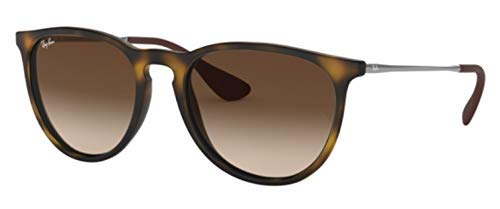 Ray-Ban RB4171F Erika Round Asian Fit Sunglasses, Dark Rubber Tortoise/Brown Gradient, 54 ()