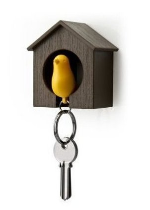 Liroyal Key Ring - Brown House with Yellow (Key Birdhouse)