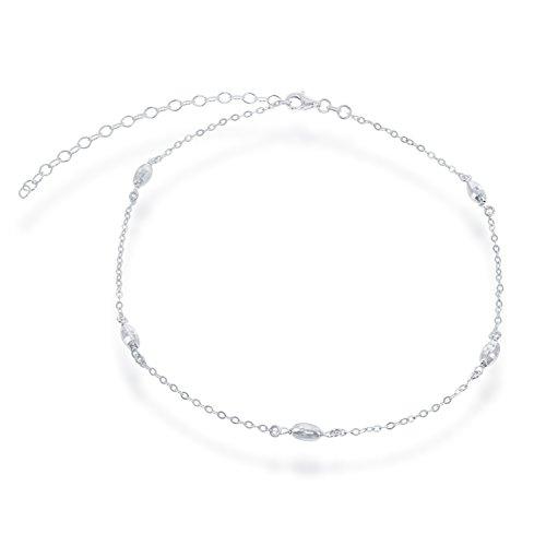 Sterling Silver 12 + 3 Italian Diamond-Cut Oval MoonBeads Choker Necklace