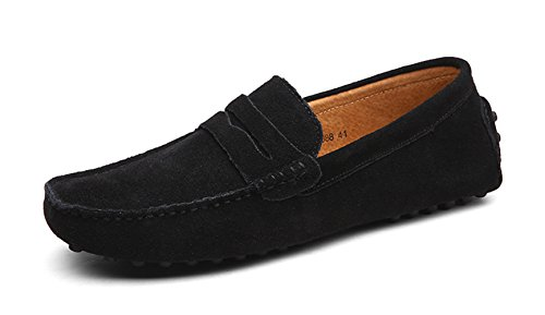 Shoes Men's Black Penny Ezkrwxn Moccasin Suede On Slip Driving Leather Loafers Shoes Flats xXxC7qd6