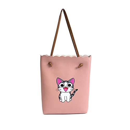 Chi's Sweet Home Women Bags Wavy Edge Handbags Totes Lovely Cat PU Shoulder Bags Big Shoulder Bag Female Bolsas with Purse Color pink -  HITSAN INCORPORATION, AH-10159