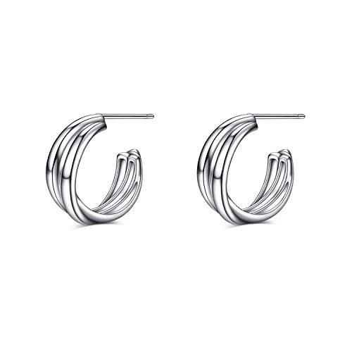 Silver Hoop Earrings Sterling Silver Circle Endless Twist Earrings Hoops Jewelry,Fashion Hoop Earring for Women Girls (Hoop earrings A)