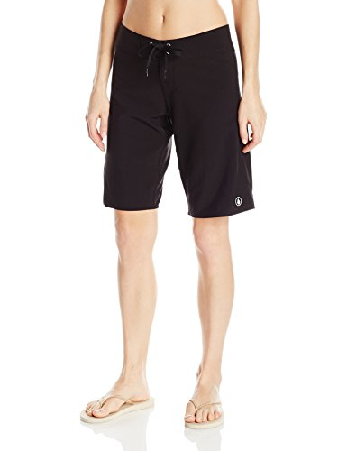 Volcom Women's Simply Solid 11-inch Classic Swim Boardshort, Black, 7