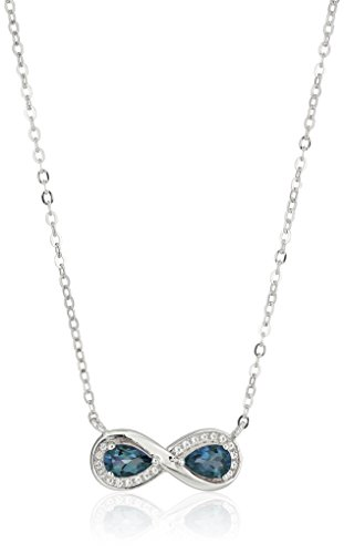 Sterling Silver London Blue Topaz Infinity Pendant Necklace, 18