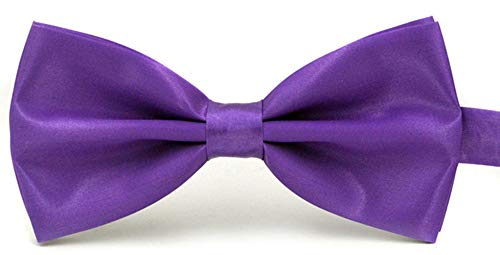 Taishenyuan Mens Classic Pre-Tied Satin Formal Tuxedo Bowtie Adjustable Length Large Many Colors Available (Purple)