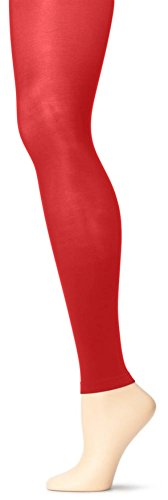 Grandeur Hosiery Women's Ladies Adult Joiner's Solid Colored Seamless Microfiber Full Length Semi Opaque Dance Ballet Costume Footless Tights Leggings Fashion Stockings Red B / Small
