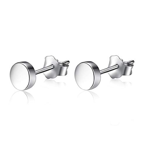 YFN Sterling Silver Disc Stud Earrings Minimalism Tiny Dot Earrings Jewelry for Everyday (Silver)
