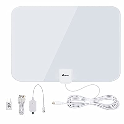 TV Antenna, Vansky Amplified HDTV Antenna 50 Mile Range with Detachable Amplifier Signal Booster, USB PowerSupply and 16ft High Performance Coax Cable - Upgraded Version Better Reception