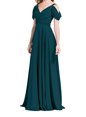 Rock Chiffon Linie Dunkel Lang Kurzarm Ballkleider Elegant A Festlichkleider Damen Tuerkis Charmant Promkleider Abendkleider qw1PnB6