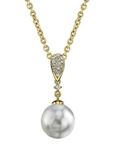 Or 14K diamant et perle de culture Akoya Madeline Pendentif