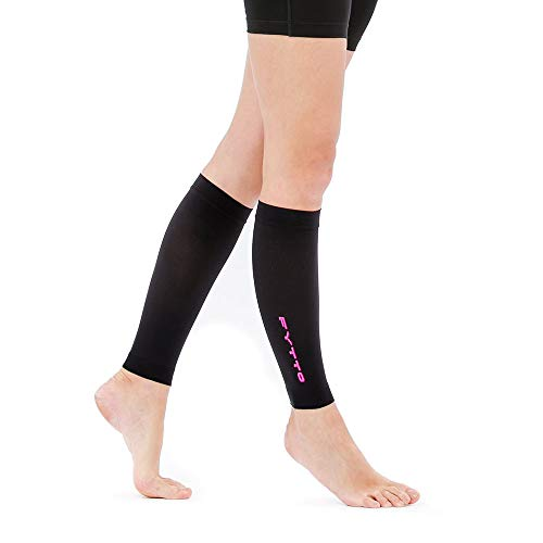 Fytto 1022 Women/Mens Calf Sleeves, 15-20mmHg Graduated Compression - Lightweight, Opaque, Footless Compression Socks, Versatile Relief for Aching Legs - Pink, Large