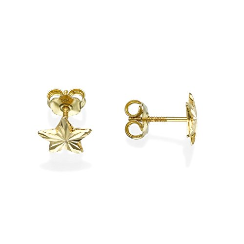 14K Solid Yellow Gold Star Screw Back Stud Earrings for Teens and Women Kids Gift Children by youme Gold Jewelry (Image #2)