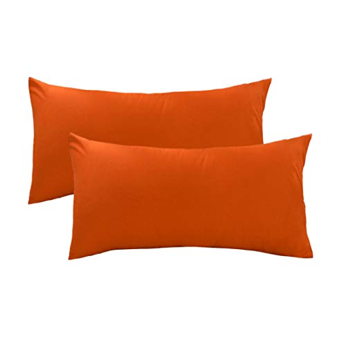 uxcell Pillow Cases Covers Pillowcases Protectors Standard Size Housewife Egyptian Cotton 250 Thread Count Set of 2, Orange