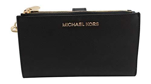 Michael Kors Jet Set Travel double Zip Wristlet (Black Saffiano) ()