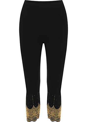 WearAll Women's Gold and Silver Stretch Sequin Leggings Ladies - Black Gold - US 20-22 (UK 24-26)