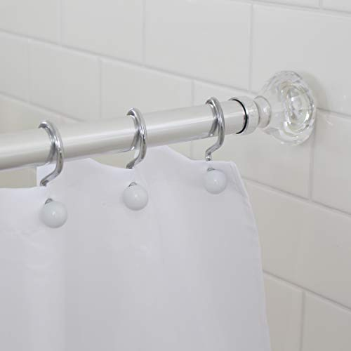 Splash Home Olena Rust Resistant Strong Hold Constant Tension Bathroom Decorative Shower Curtain Rod - extendable 42