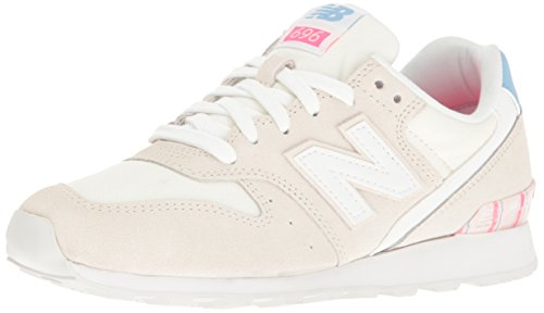New Balance Women's 696 Lifestyle Fashion Sneaker, Sea Salt/White, 8 B US