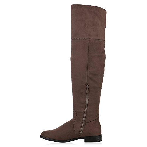 Damen Stiefelparadies Overknee Overknees Metallic Khaki Boots Langschaft Holzoptikabsatz Stiefel Strick Flandell dFwrFx