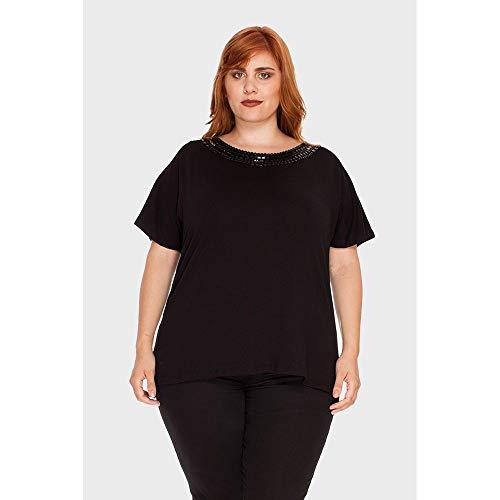 Blusa Agatha Bordado Plus Size Preto-46