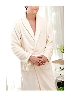 Femaroly Thick Flannel Bath Robe Autumn and Winter Fleece Home Service Night Gown for Men