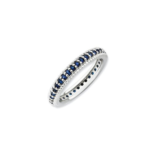 3.25mm Sterling Silver Stackable Created Sapphire Eternity Ring Size 10 by Stackable Expressions