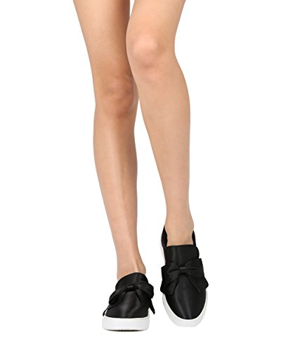 Slip Donna Alrisco In Raso Su Slip Low Top - Hf77 By Wild Collezione Diva Black Satin