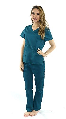 Deluxe Pop-Stretch Medical Scrubs for Women Nurse Uniform Set, Crossover Top and Multi Pocket - Caribbean - L