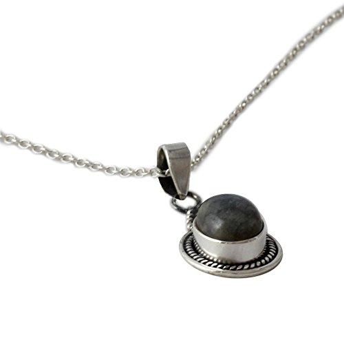 Silver Sterling Cabochon Handmade Pendant (NOVICA .925 Sterling Silver and Labradorite Pendant Necklace, 18.5