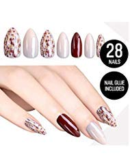 Tip Beauty Nude Red Fake Nail Kit, Dillema Faux Nails for Women, Fake Nails for Kids, Glue on Nails, Instant Nails for...