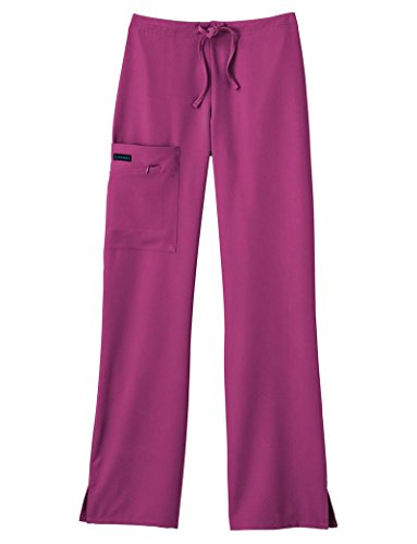 Classic Fit Collection by Jockey Women's Tri Blend Zipper Scrub Pants Large Petite Plum Berry