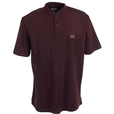 Men's Riggs Workwear by Wrangler Short-sleeved Henley T-shirt, BURGUNDY, 3XLT