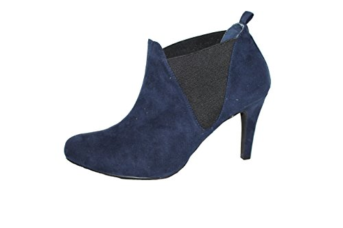 microfibre - velor - ankle boots dark blue with Leather lining Blue