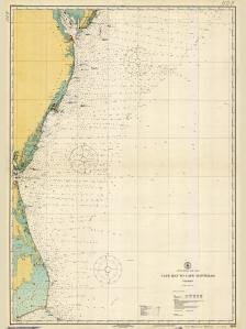 (Historical Nautical Chart 1109-05-1922: NC, Cape May to Cape Hatteras Year 1922)